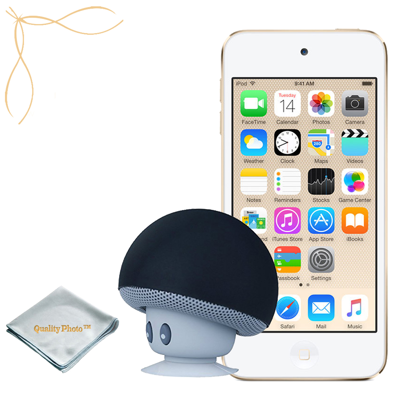 Apple iPod Touch Gold 32GB (6th Generation) - Mushroom Bluetooth Wireless Speaker/iPod Stand - Quality Photo Cloth