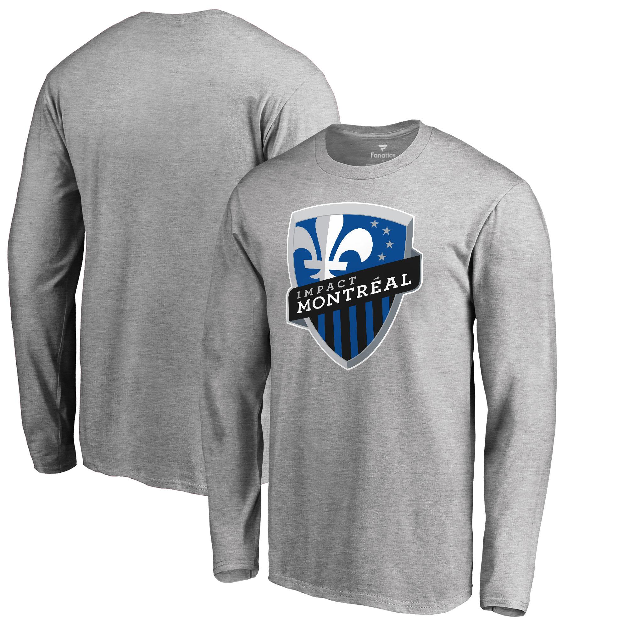 Montreal Impact Fanatics Branded Primary Logo Long Sleeve T-Shirt - Heathered Gray