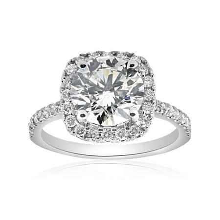 G/SI 2.50ct (2ct center) Large Diamond Cushion Halo Engagement Ring 14k ()