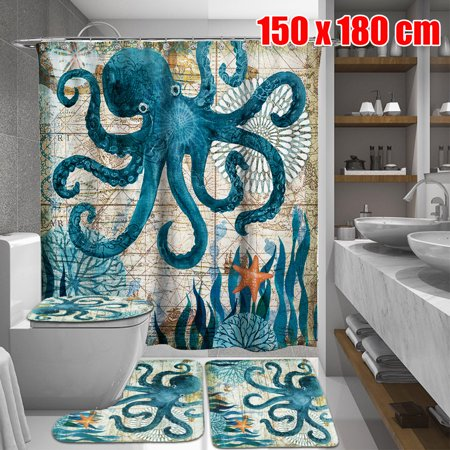 60x71 inch Blue Octopus Waterproof Custom Distinctive Bathroom Fabric Shower Curtain + 3 PCS Non-Slip Pedestal Rugs Toilet Seat Lid Cover Set Home Decor Gifts