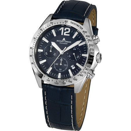 - Jacques Lemans Men's Sport 42mm Blue Leather Band Steel Case Quartz Analog Watch 42-5B