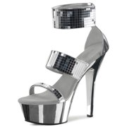 """Pleaser KISS297/S-MIR/M Silver Mirror Heels Ankle Cuff 6"""" Heel Shoes Size 8"""