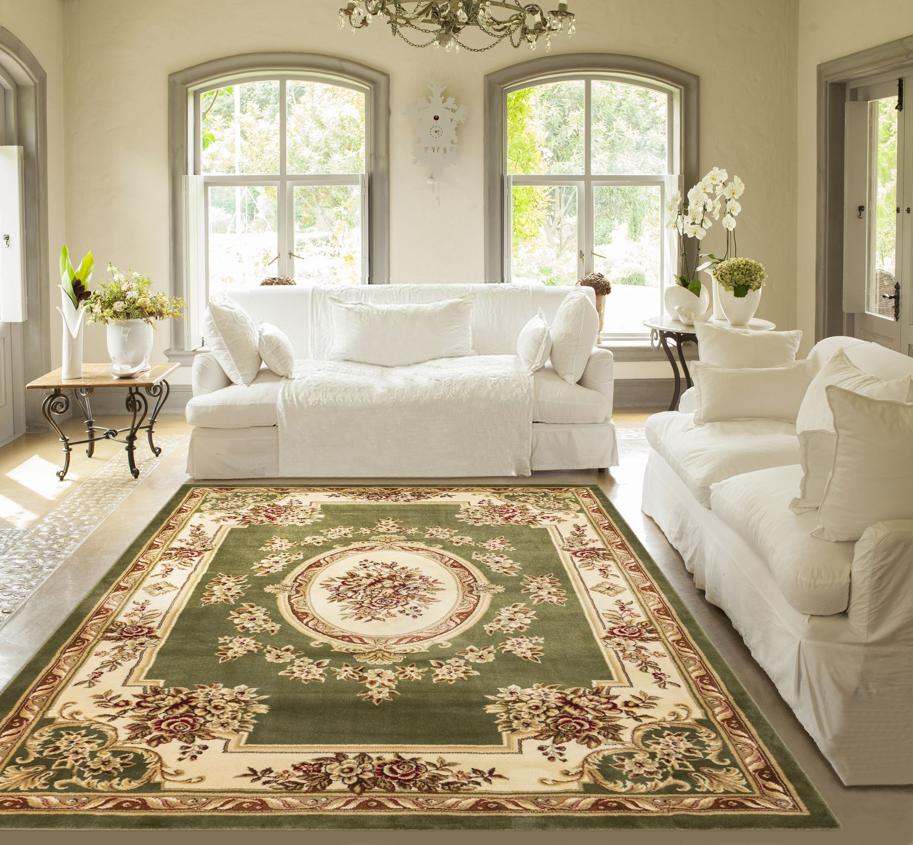 """Well Woven Pastoral Medallion Green French European Formal Traditional 4x5 (3'11"""" x 5'3"""") Area Rug Easy Clean Stain/Fade Resistant Modern Contemporary Floral Thick Soft Plush Living Dining Room Rug"""