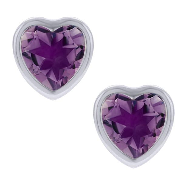 1.30 Ct Heart Amethyst Sterling Silver Stud Earrings