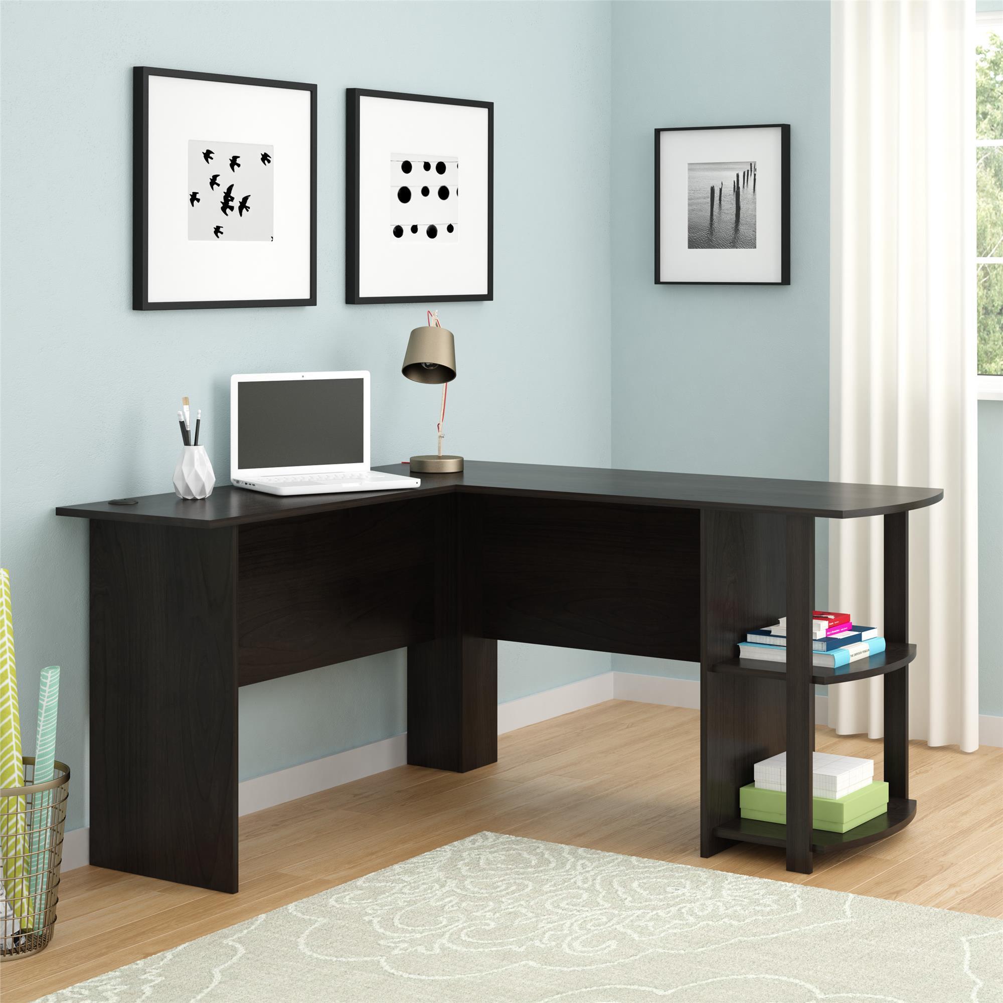Ameriwood Home Dominic L Desk With Bookshelves Espresso Walmart Com Walmart Com
