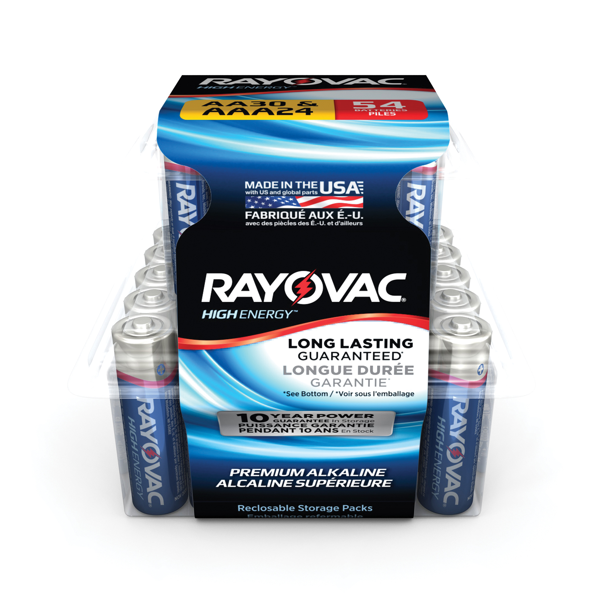 Rayovac High Energy Alkaline 30 AA & 24 AAA Batteries, 54 Count