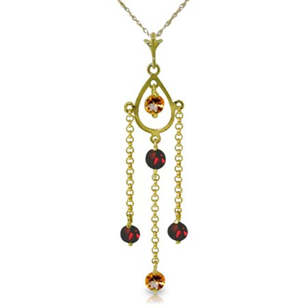 ALARRI 1.5 CTW 14K Solid Gold Lifetime Love Citrine Garnet Necklace with 24 Inch Chain Length.