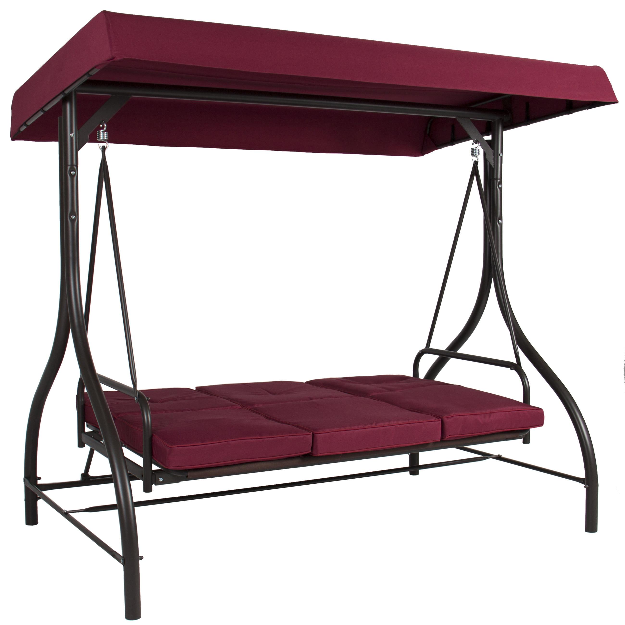 Best Choice Products 3 Seat Converting Outdoor Patio Canopy Swing Hammock Burgundy Walmart Com Walmart Com