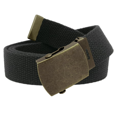 Men's Classic Antique Gold Military Slider Belt Buckle with Canvas Web Belt Small (Big Gold Belt)