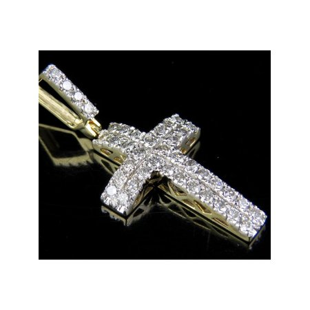 10K Yellow Gold Genuine Diamond 2 Row Dome Cross Pendant Charm 1 Ct 1.4""