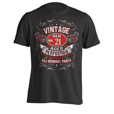 21st Birthday Shirts (21st Birthday Gift T-Shirt - Born In 1998 - Vintage Aged 21 Years To Perfection - Short Sleeve - Mens - Black - XXX-Large T Shirt - (2019)