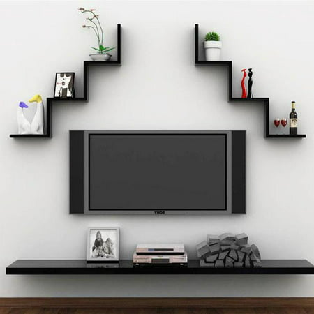 TOPINCN Floating W Shelves,Wall Mounted Shelf Display Storage Modern Home Decoration