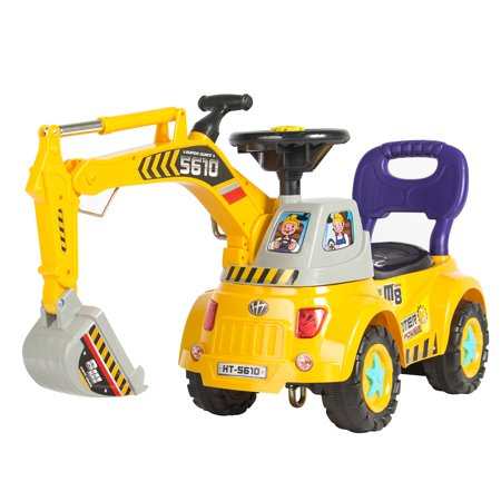 Best Choice Products Ride-On Excavator Digger Scooter Pulling Cart Pretend Play Construction