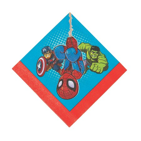 Fun Express - Marvel Superhero Lunch Nap for Birthday - Party Supplies - Licensed Tableware - Licensed Napkins - Birthday - 16 - Marvel Birthday Party Supplies