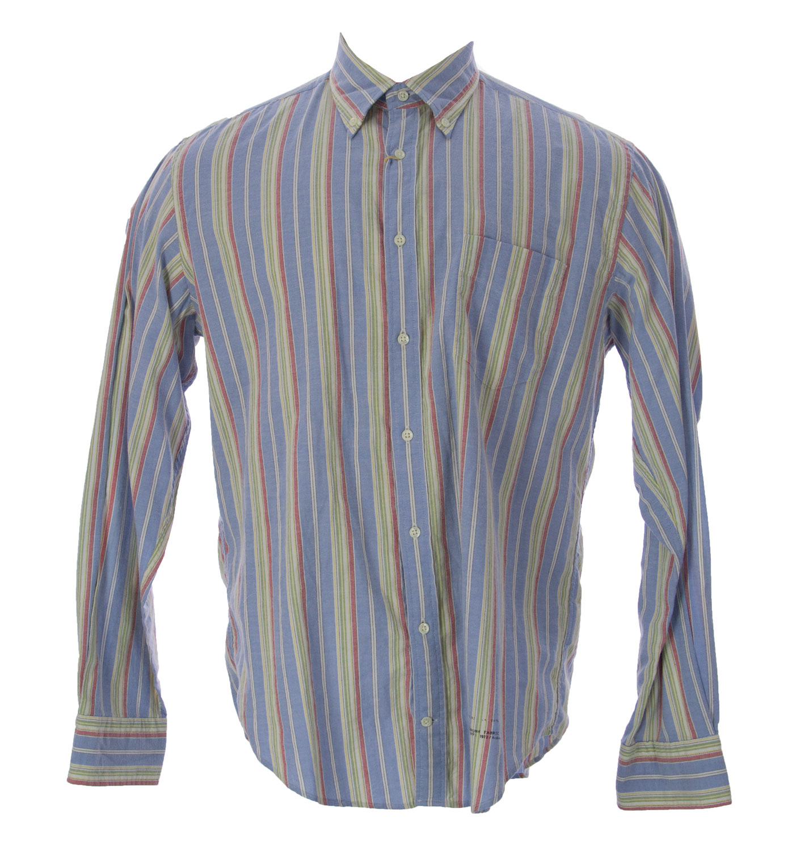 Gant Men's Striped Button-Up Shirt Large Dolphine Blue
