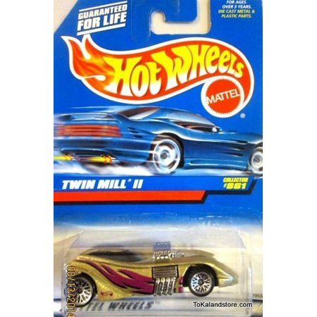 Hot Wheels 1998 1:64 Scale Gold Twin Mill II Die Cast Car Collector #861 By Mattel