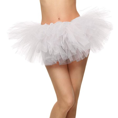 Women's Classic Vintage 5-layered Tulle 5k,10k running Tutu Skirt, White
