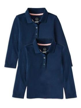 Wonder Nation Toddler Girls School Uniform Long Sleeve Interlock Polo Shirt, 2-Pack Value Bundle