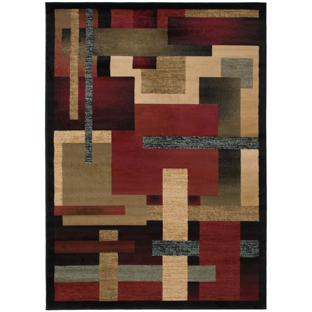 Mayberry Carpet and Rug Contemporary Angles Multi-colored Area Rug (5'3 x 7'3) - Multi - 5'3