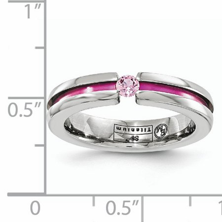 Edward Mirell Titanium Pink Sapphire Anodized Grooved 4mm Wedding Ring Band Size 7.00 Stone Gemstone Fashion Jewelry Gifts For Women For Her - image 7 of 11