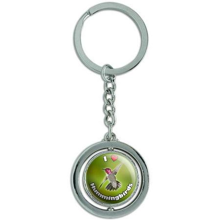 I Love Heart Hummingbirds Bird Spinning Round Metal Key Chain Keychain Ring