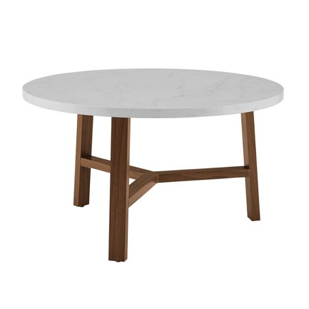 30 Inch Round Coffee Table In White Faux Marble And Acorn