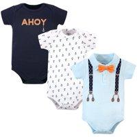 Little Treasure Baby Boy Short Sleeve Cotton Bodysuits, 3-Pack