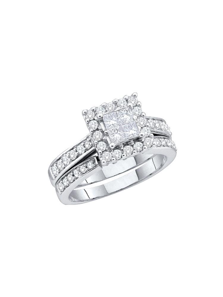 14kt White Gold Womens Princess Diamond Halo Bridal Wedding Engagement Ring Band Set ( 1.50 cttw.) by Mia Diamonds