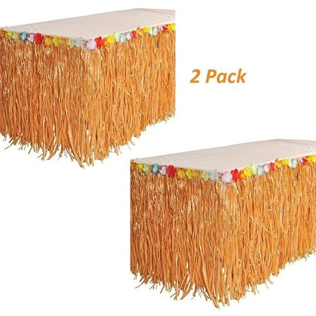 Luau Hawaiian Grass Table Skirt Decorations - 2 Pack 9' X 29