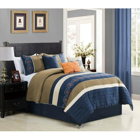 Wpm 7 Piece Bedding Set Navy Blue Beige Taupe Comforter