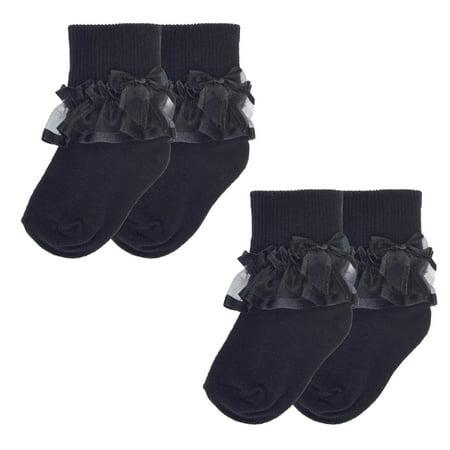 Girls Sheer Ribbon & Bow Turncuff Socks 2 Pack