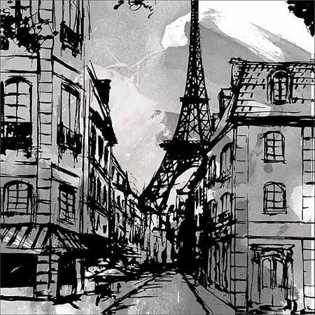 Eiffel tower street scene paris caf sketch black white travel canvas art