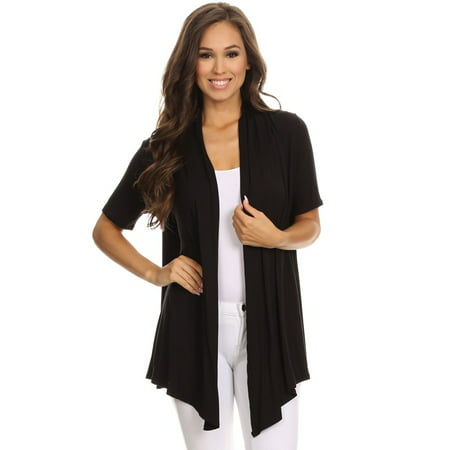 Women's Short Sleeves Open Front Solid Cardigan ()