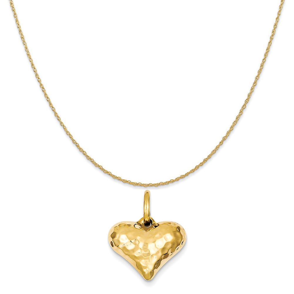 Real 14Kt Yellow Gold Heart Pendant  Necklace /& Solid 14k gold ROPE 18inch Chain
