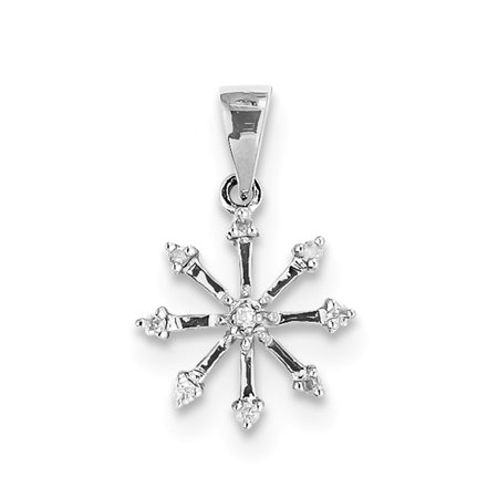 Rhodium Snowflake Pendant - 925 Sterling Silver (0.1cttw) Rhodium Snowflake Pendant (22mm x 14mm)