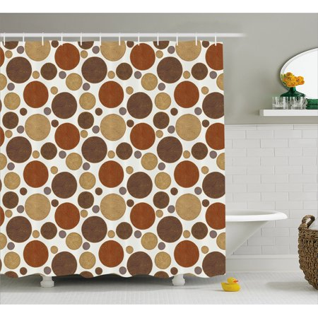 Chocolate Shower Curtain Vintage Design With Round Shapes Curved Lines Abstract Geometric Motifs