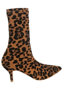 cc260eab3855 Product Image 224-1 Elastic Stretchy Sock Ankle High Boots Kitten Heel  Pointed Toe Leopard