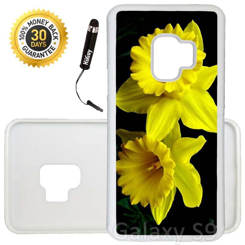 Custom Galaxy S9 Case (Yellow Daffodils) Edge-to-Edge Rubber White Cover Ultra Slim | Lightweight | Includes Stylus Pen by Innosub