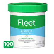 Fleet Laxative Glycerin Suppositories Adult Suppositories, 100 Count