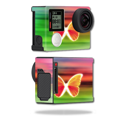 Mightyskins Protective Vinyl Skin Decal Cover for GoPro Hero4 Black Edition Camera Digital Camcorder wrap sticker skins Neon Butterfly
