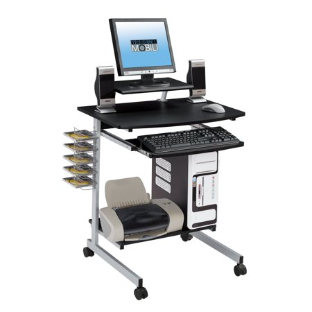 Techni Mobili Rolling Compact Computer Cart Desk With Storage Graphite Rta 2018