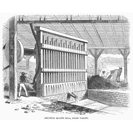 California Gold Rush Nmill For Isolating Gold From Quartz Grass Valley California Wood Engraving 1860 Poster Print by Granger