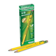 Dixon Ticonderoga Beginners Primary Size #2 Pencils with Erasers, Box of 12, Yellow (13308)