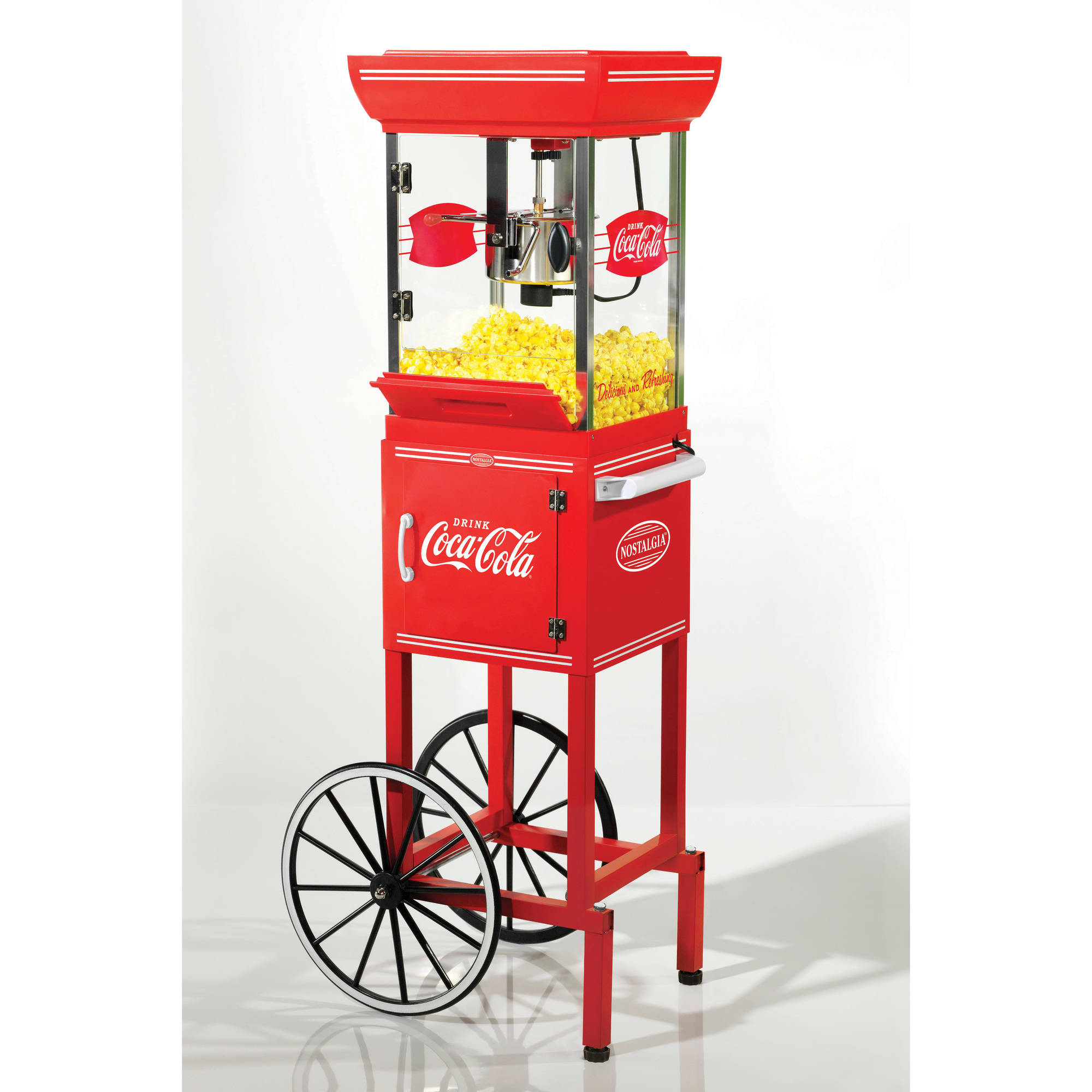 "Nostalgia CCP339COKE 48"" Tall Coca-Cola 2.5 oz Kettle Popcorn Cart"