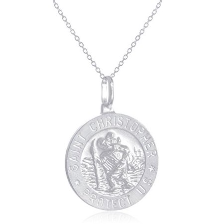 """Large Round Silk Pendant - Real 925 Sterling Silver Saint Christopher """"Protect Us"""" Round Pendant with an 18 Inch Link Necklace - Available in Small, Medium and Large Size Pendant (Large)"""
