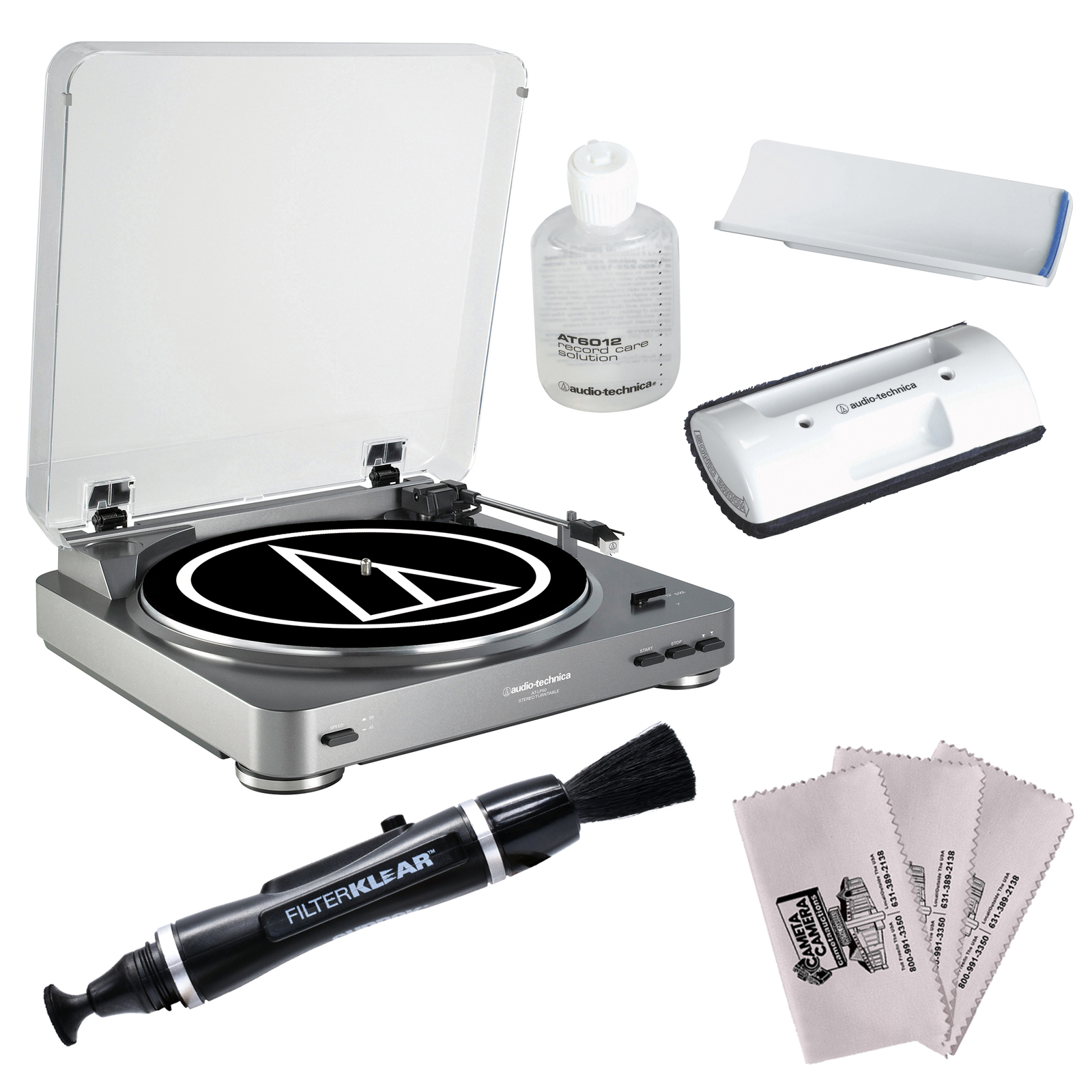 Audio-Technica AT-LP60-USB Automatic Belt-Drive Turntable & Recording Software (Silver) with Record Care + Cleaning Kit