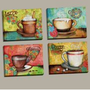 Popular Colorful Espresso Coffee Cappucino And Latte Set Kitchen Decor Four 10x8in