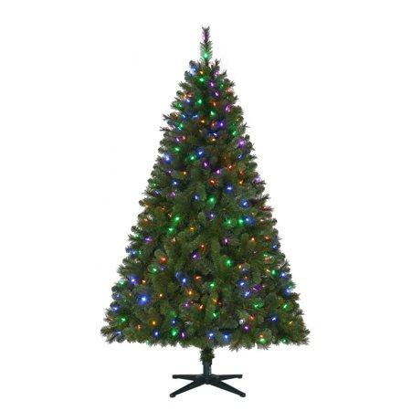 7.5 ft Pre-Lit LED Wesley Spruce Slim Artificial Christmas Tree, Color  Changing - 7.5 Ft Pre-Lit LED Wesley Spruce Slim Artificial Christmas Tree