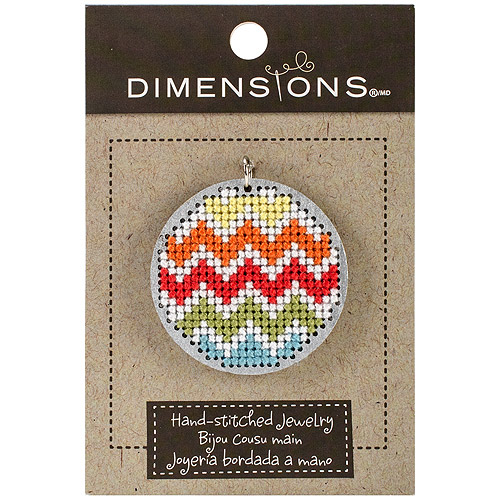 "Finished Large Circle Wooden Pendant, 1.625"" Round Silver-Chevron Design"