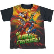 Power Rangers - Hashtag - Youth Short Sleeve Black Back Shirt - Small